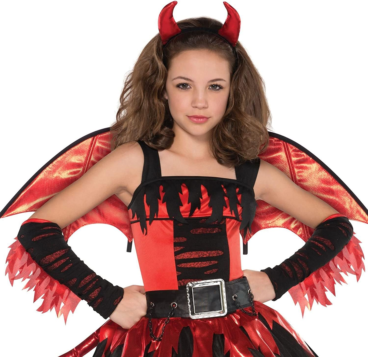 Girls Daredevil Costume Halloween Child Teen Red Devil Fancy Dress Outfit