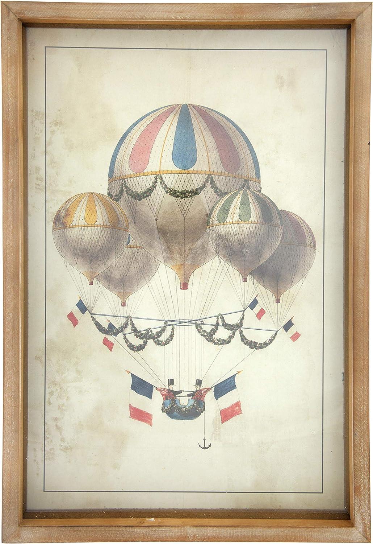 Creative Co-op Vintage Hot Air Balloon Decor in Wood Shadowbox Frame Wall Décor, Multicolor