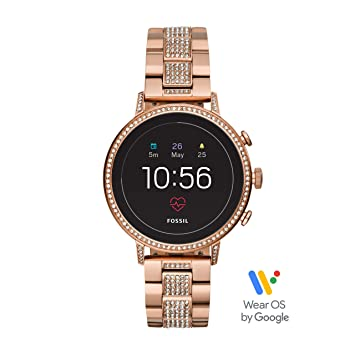 new style 637cc bd0e9 Fossil Women's Gen 4 Venture HR Heart Rate Stainless Steel Touchscreen  Smartwatch, Color: Rose Gold (Model: FTW6011)