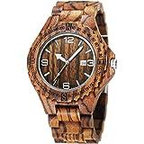 CUCOL Wood Grain Watch Handmade Wooden Wrist Watch Lightweight Quartz Movement Luminous