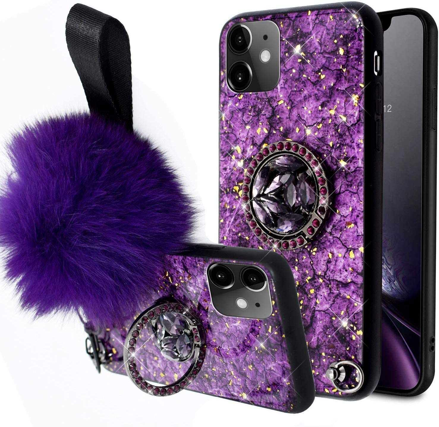 Aulzaju iPhone Xs Max Case for Women iPhone Xs Max Case with Ring Stand Bling iPhone Xs Max Cute Case for Girls with Wrist Strap iPhone Xs Max Glitter Hard Hybrid Silicone Phone Case 6.5'' Purple