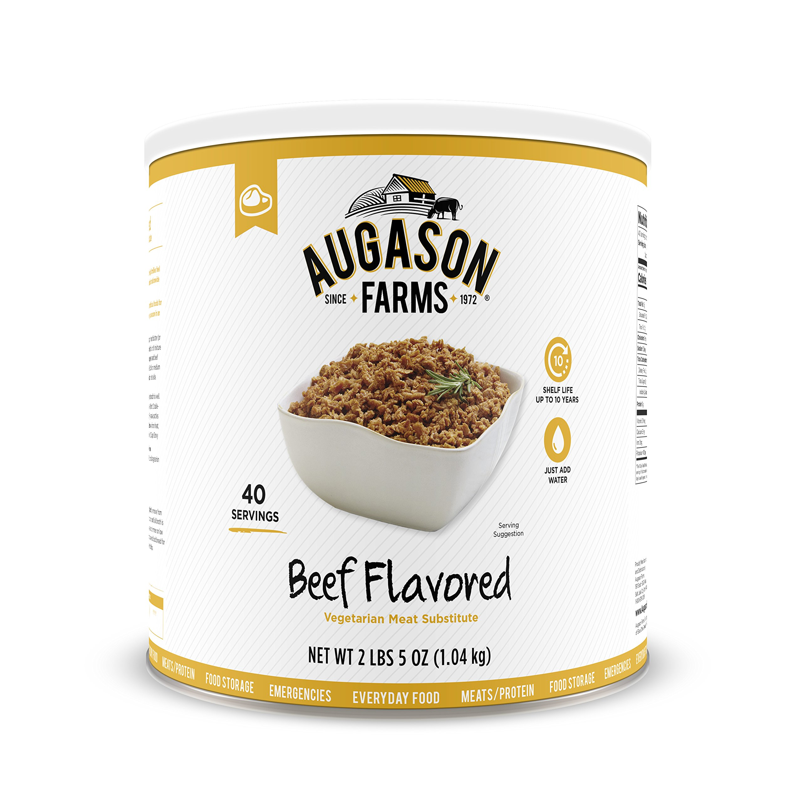 Augason Farms Beef Flavored Vegetarian Meat Substitute 2 lbs 5 oz No. 10 Can by Augason Farms (Image #1)