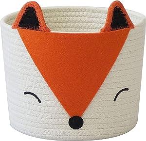 Small Cotton Rope Storage Basket with Cute Orange Fox for Baby Diaper Organizer, Baby Laundry Baskets, Nursery Storage, Kids Room Organizer, Cat Dog Toy Storage