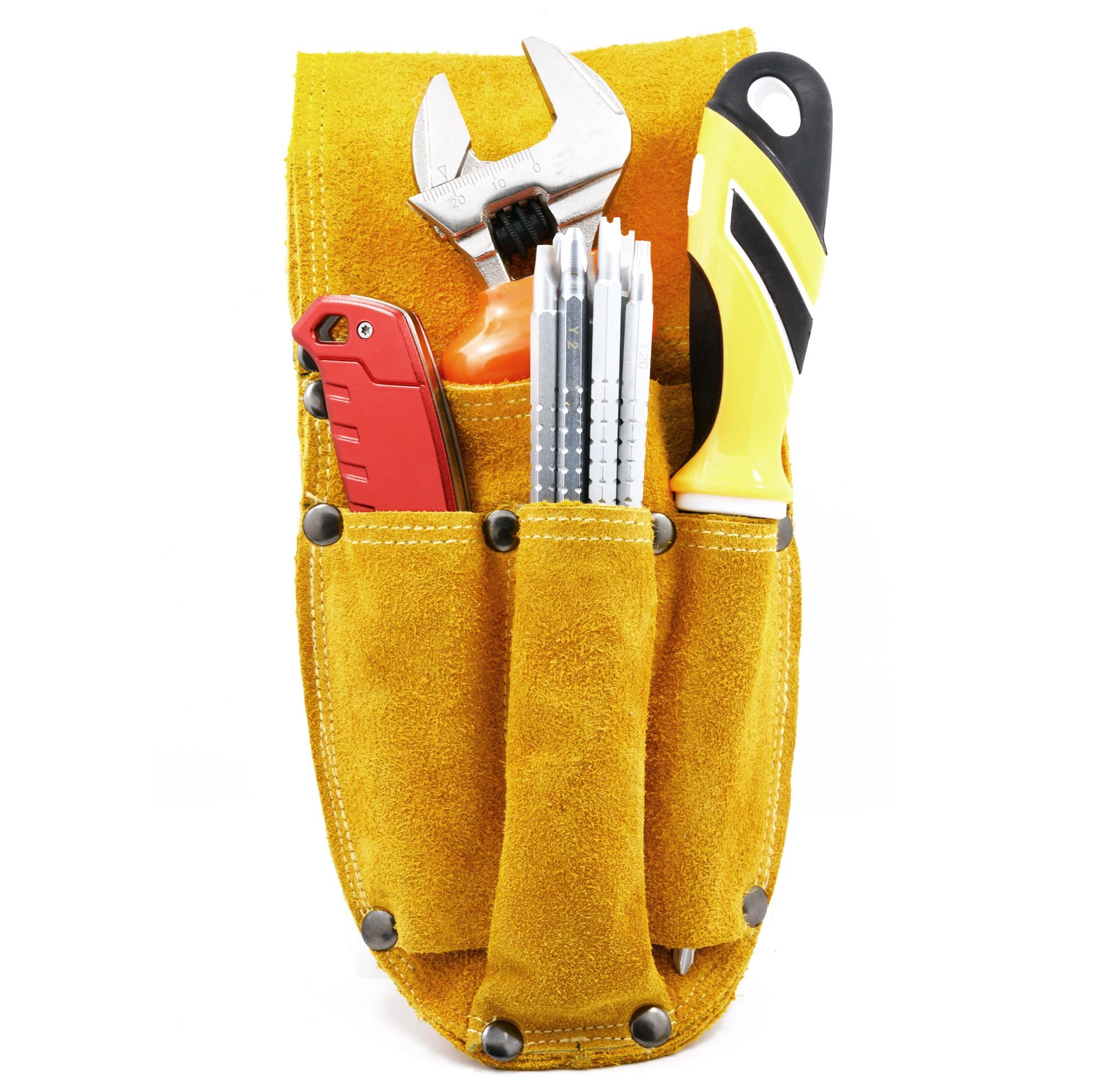Koopi Heavy Duty Bilayer Suede Electriciann Machinist Tool Bag Holster Pouch Carpenter Work Apron And Gardener Tool Organizer-4 Pocket by Koopi (Image #5)