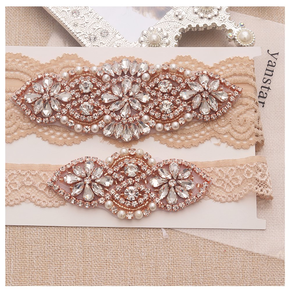 Yanstar Bridal Garter Champange Stretch Lace Bridal Garter Sets With Rose Gold Rhinestones For Wedding