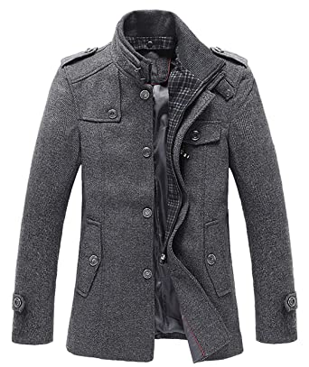 8e16069a8cba9 chouyatou Men's Winter Stylish Wool Blend Single Breasted Military Peacoat  (X-Small, Gray