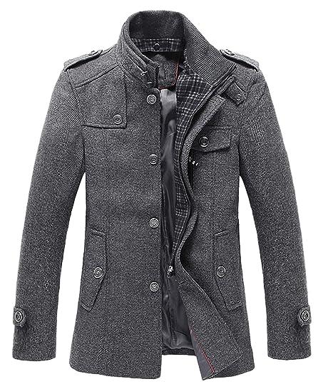 Chouyatou Men's Winter Stylish Wool Blend Single Breasted Military ...