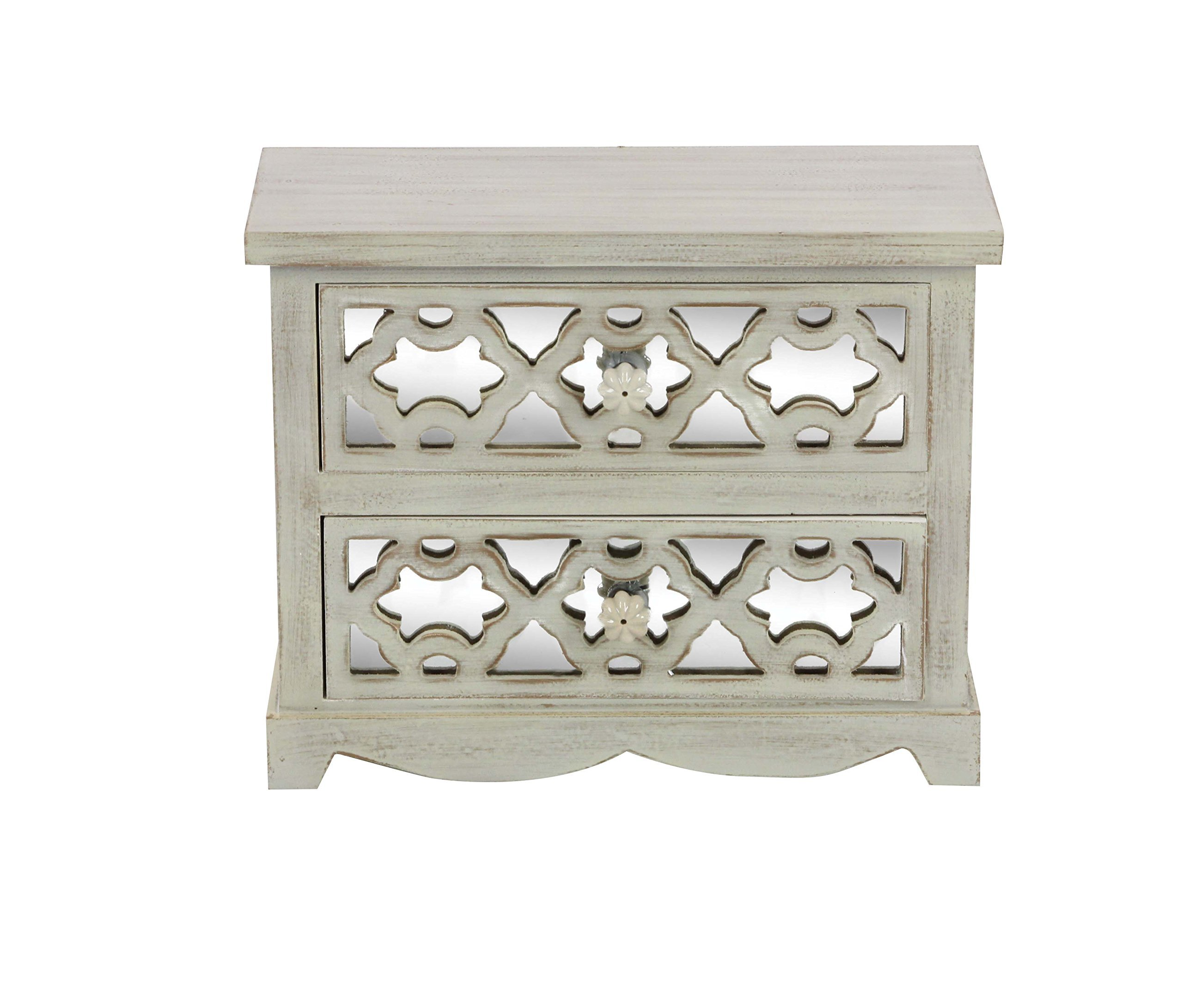 Deco 79 56698 Distressed Wooden Jewelry Chest, 10'' x 13'', LightGreen