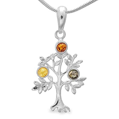 Lebensbaum Silberschmuck Kettenanhänger Silber 925 mit Bernstein,Baum des  Lebens Weltbaum Tree of Life   5f4aa63c4b