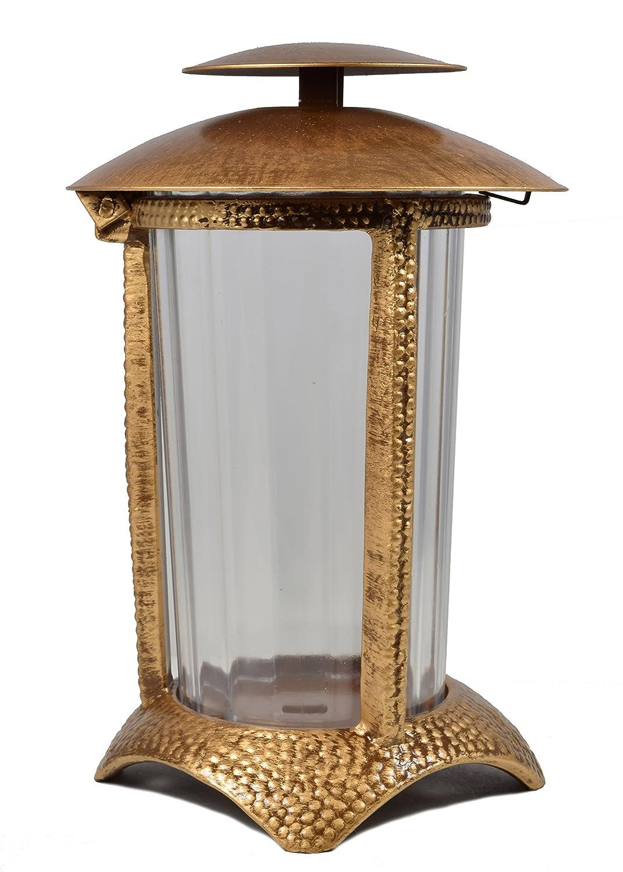 Paul Jansen Grablicht rund mit Kunststoffeinsatz und halbrundem Standfu/ß H/öhe 21 cm braun//gold
