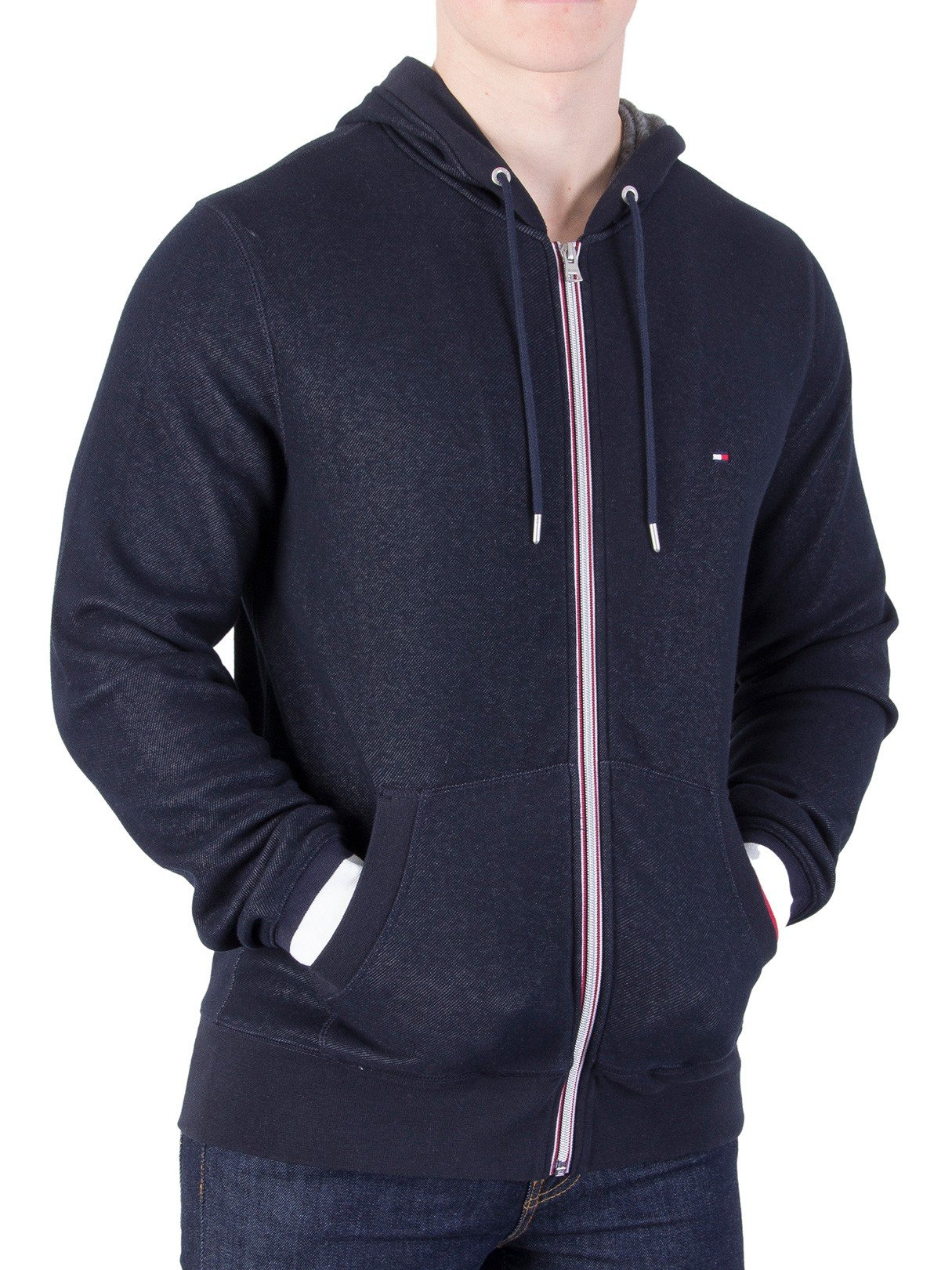 Tommy Hilfiger Men's Sasha Zip Hoodie, Blue, Large