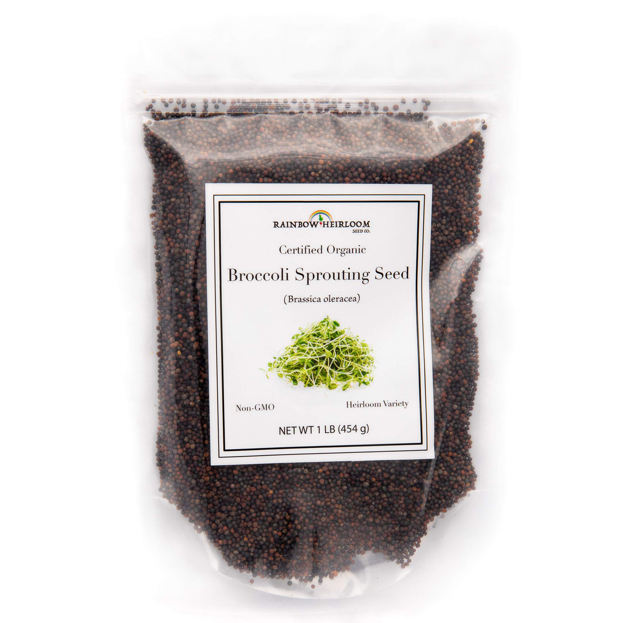 Certified Organic Broccoli Sprouting Seeds for Broccoli Sprouts & Microgreens | Non GMO Seed Heirloom Variety | 1 LB Resealable Bag | Perfect for Sprouting Jar & Seed Tray | Rainbow Heirloom Seed Co. by Rainbow Heirloom Seed Co. (Image #1)