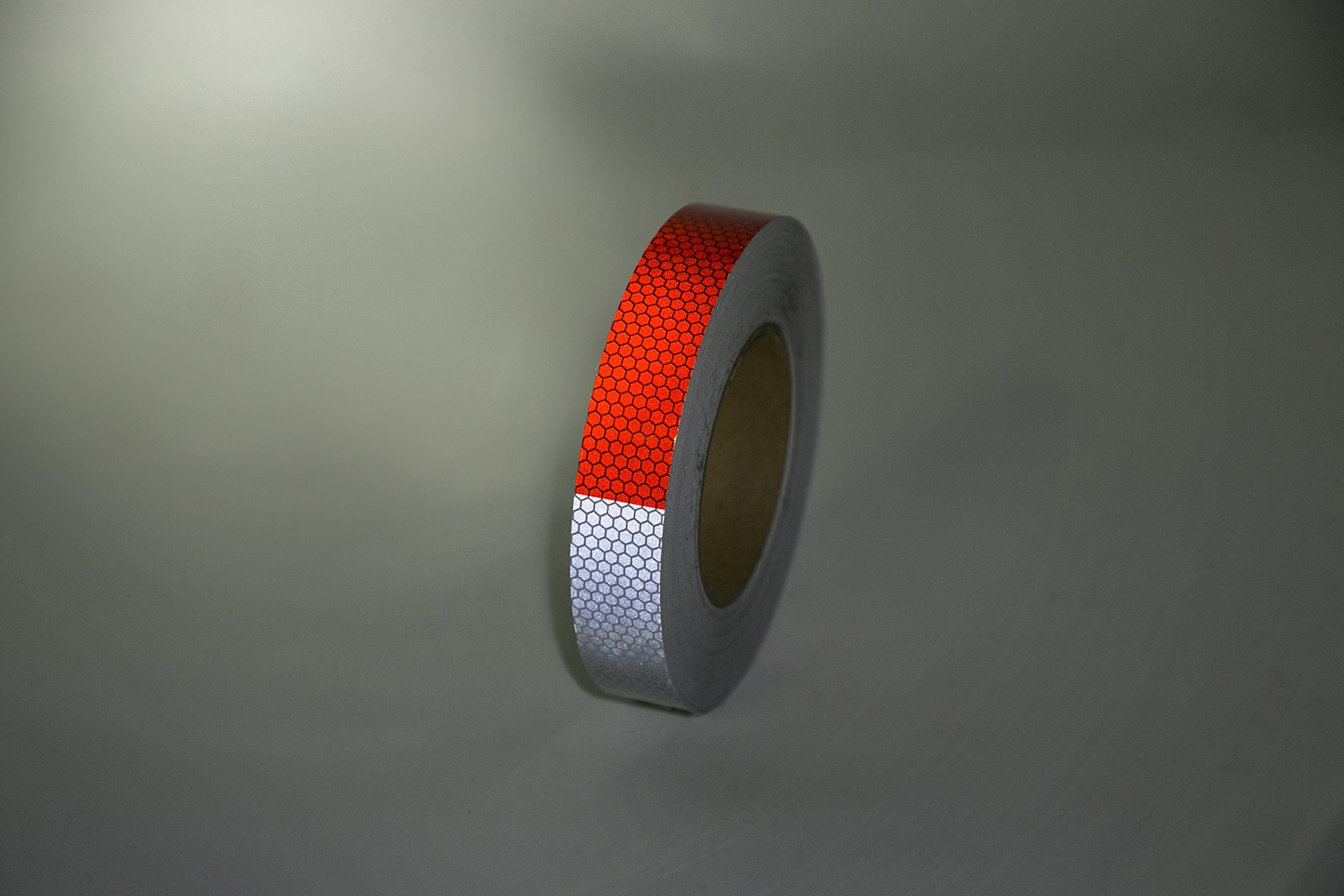 Starrey Reflective Tape 1''X25' DOT-C2 High Intensity Grade Red White - 1 inch Waterproof Trailer Reflector Conspicuity Safety Tape for Vehicles Trucks Cars