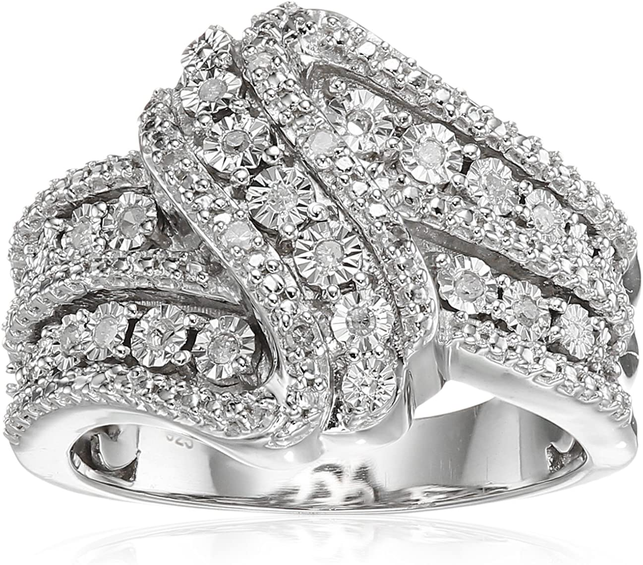 Classic Twist with White Diamond Sterling Silver Ring (1/10cttw, I-J Color, I2-I3 Clarity)