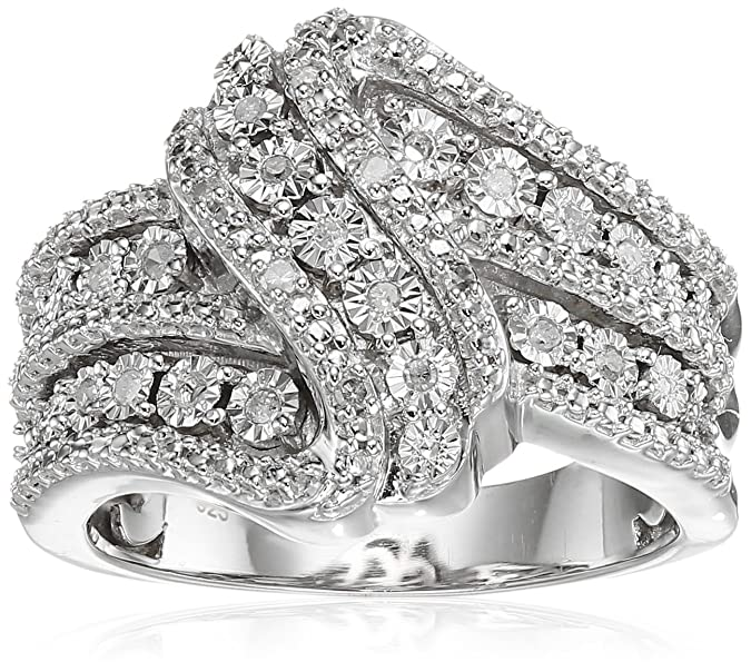 Review Classic Twist with White Diamond Sterling Silver Ring (1/10cttw, I-J Color, I2-I3 Clarity)