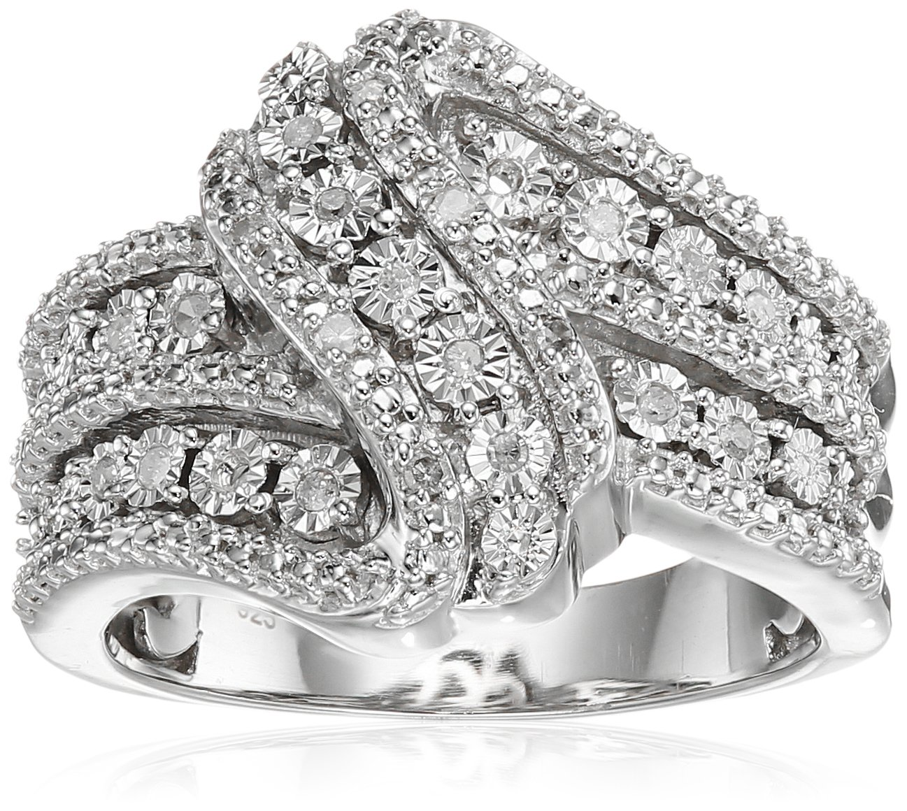 Sterling Silver Diamond 3 Row Twist Fashion Band Ring (1/10 cttw), Size 8