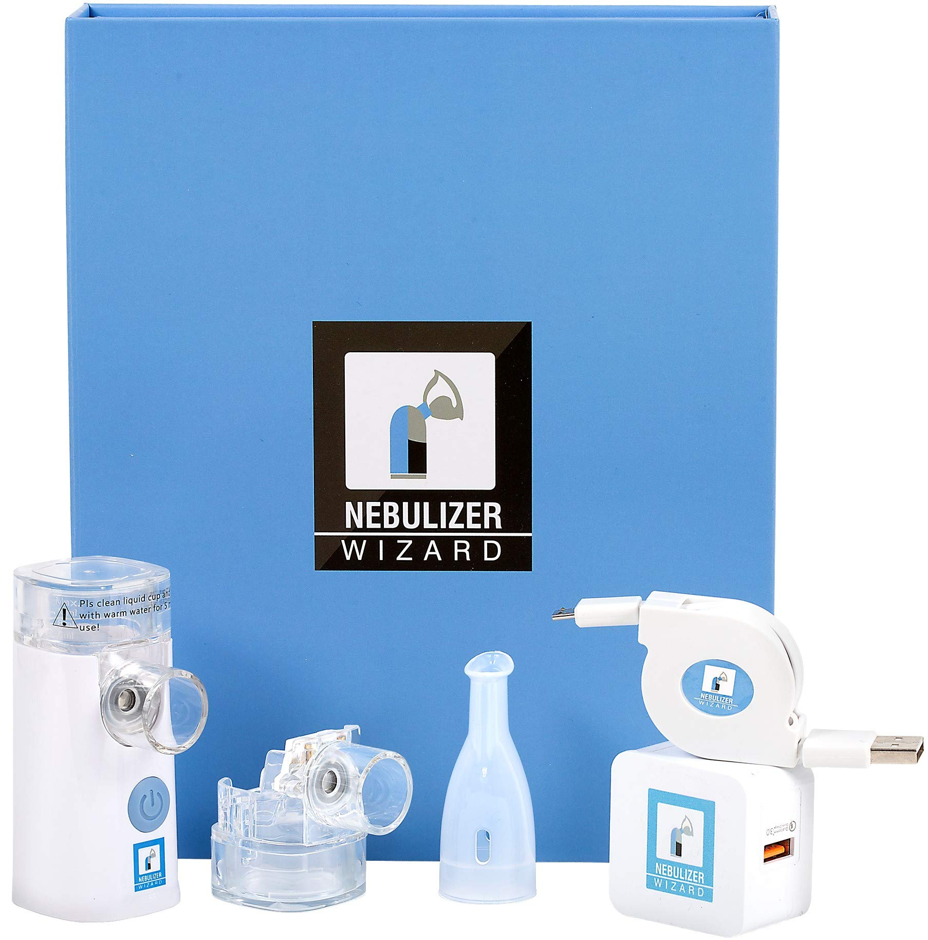 Nebulizer Wizard - Rechargeable Silent Portable for Home & Travel - Worlds Most Effective Delivery System - If You are Not Satisfied for Any Reason We Will Refund You in Full + Extra $20 + Keep 1