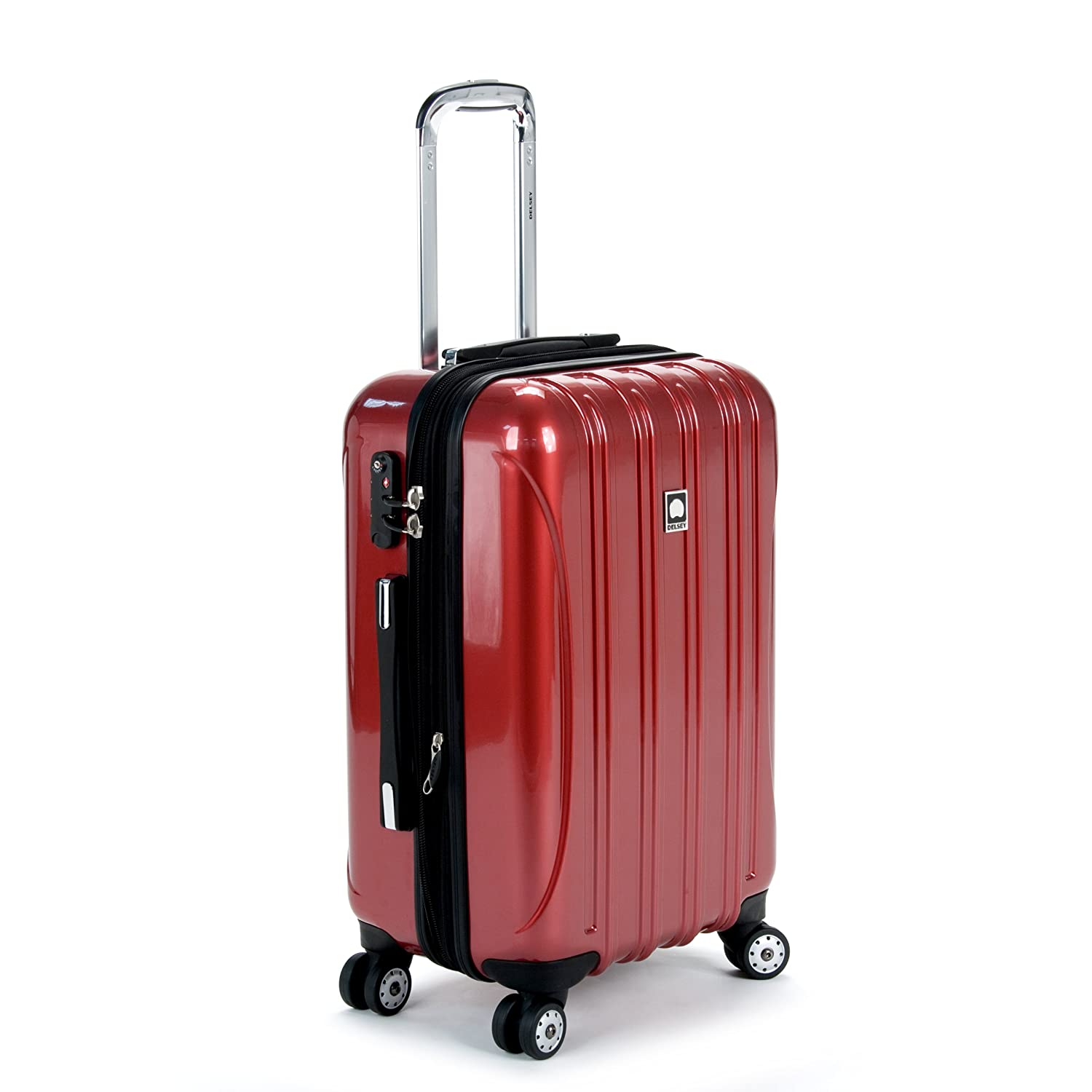 Delsey Luggage Helium Aero, Carry On Luggage, Hard Case Spinner Suitcase, Red Inc. 07644RD