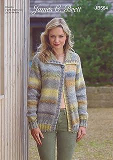 2d644e9aa6cda James C Brett JB554 Knitting Pattern Womens Collared Cardigan in Marble  Chunky
