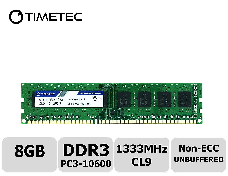 Timetec Hynix IC 8GB DDR3 1333MHz PC3-10600 Unbuffered Non-ECC 1.5V CL9 2Rx8 Dual Rank 240 Pin