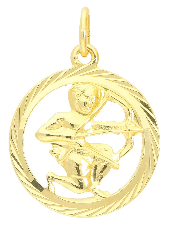 MyGold signo Colgante Sagitario (sin cadena) Oro Amarillo 333Oro (8quilates) Diamante oficial. Interior abierto Diámetro 15mm redondo signo del Zodíaco Horóscopo Oro Colgante Regalos Reg