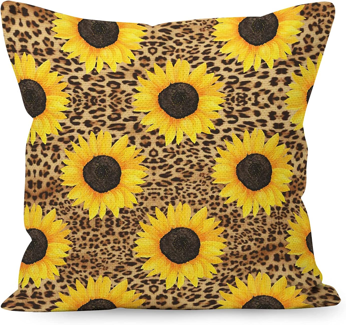 YUESHARE Farmhouse Watercolor Sunflower Leopard Print Linen Throw Pillow Cover,Sunflower Leopard Print Lover Gifts for Home Room Bed Sofa Decorations Decor (18 x 18 Inch)