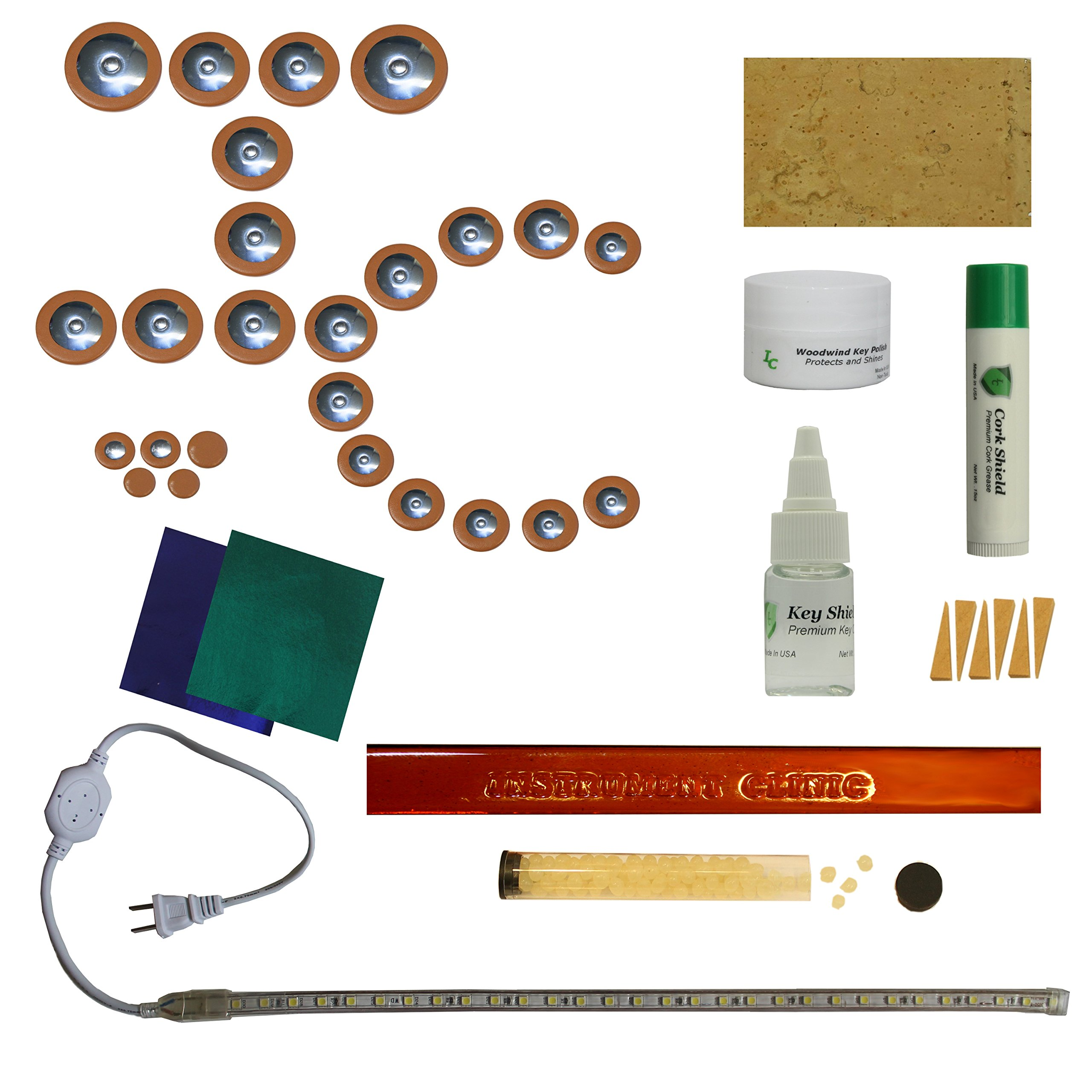 Instrument Clinic Alto Saxophone Pad Installation Kit, with Leak Light, Email Your Model!