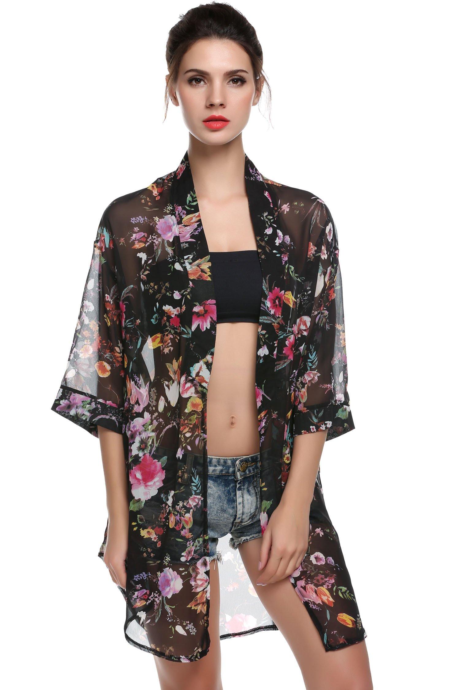 BLUETIME Women's 3/4 Sleeve Floral High Low Chiffon Kimono Cardigan Blouse (M, Black) by BLUETIME (Image #2)