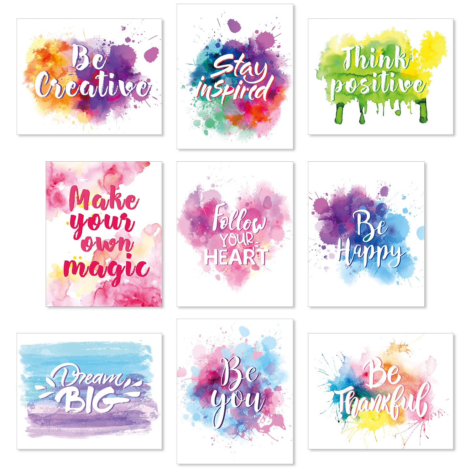Set of 9 Watercolor Inspirational Wall Art Prints Abstract Paint Motivational Quote Phrases Posters for Living Room Office Classroom Kids Room Decoration 8 x 10 Inch Unframed