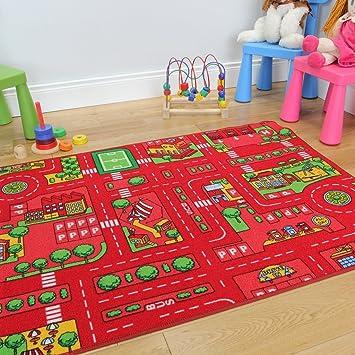 alfombra con la ciudad del juego y con coches para nios en rojo
