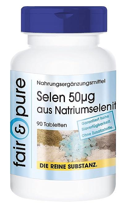 90 comprimidos de selenio (50 µg) - Procedente del selenito de sodio - Sustancia