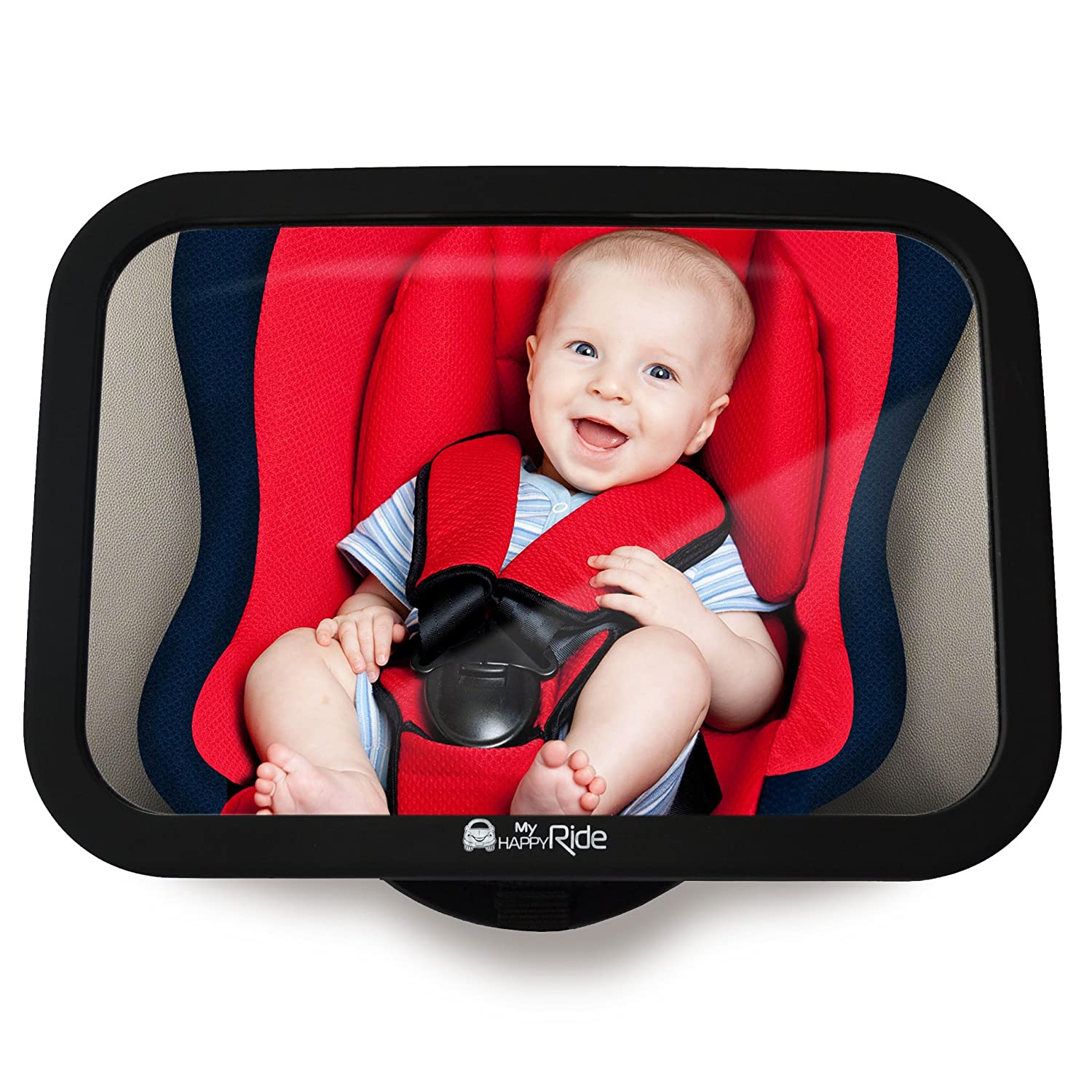 Baby Back Seat Mirror - Shatterproof Car Rearview Mirror to see Child/Infant in Baby Seat, Safety Mirror, Easy Installation, Anti-Wobble Effect, Tight & Universal Fit Heldeon