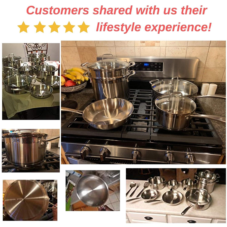 Chefs Star - Juego de 17 ollas y sartenes de acero inoxidable, antiadherentes y aptas para horno, batería con utensilios de cocina, color plateado