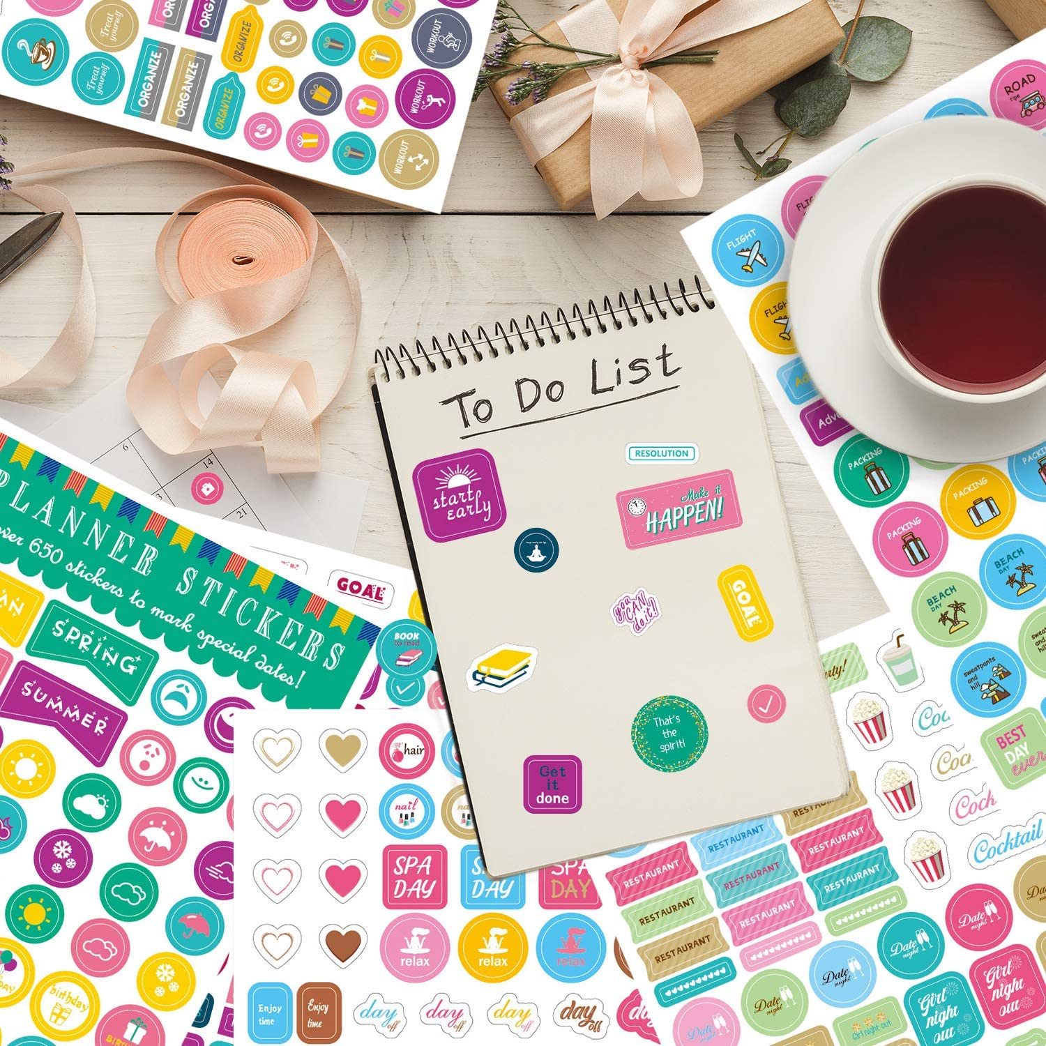 Planners Calendars Konsait 24Sheets 1380 Planner Stickers Organize Planner Journals Calendars,Monthly Weekly Daily Planner Sticker Decorative Designer Stickers Accessories for Bullet Journals