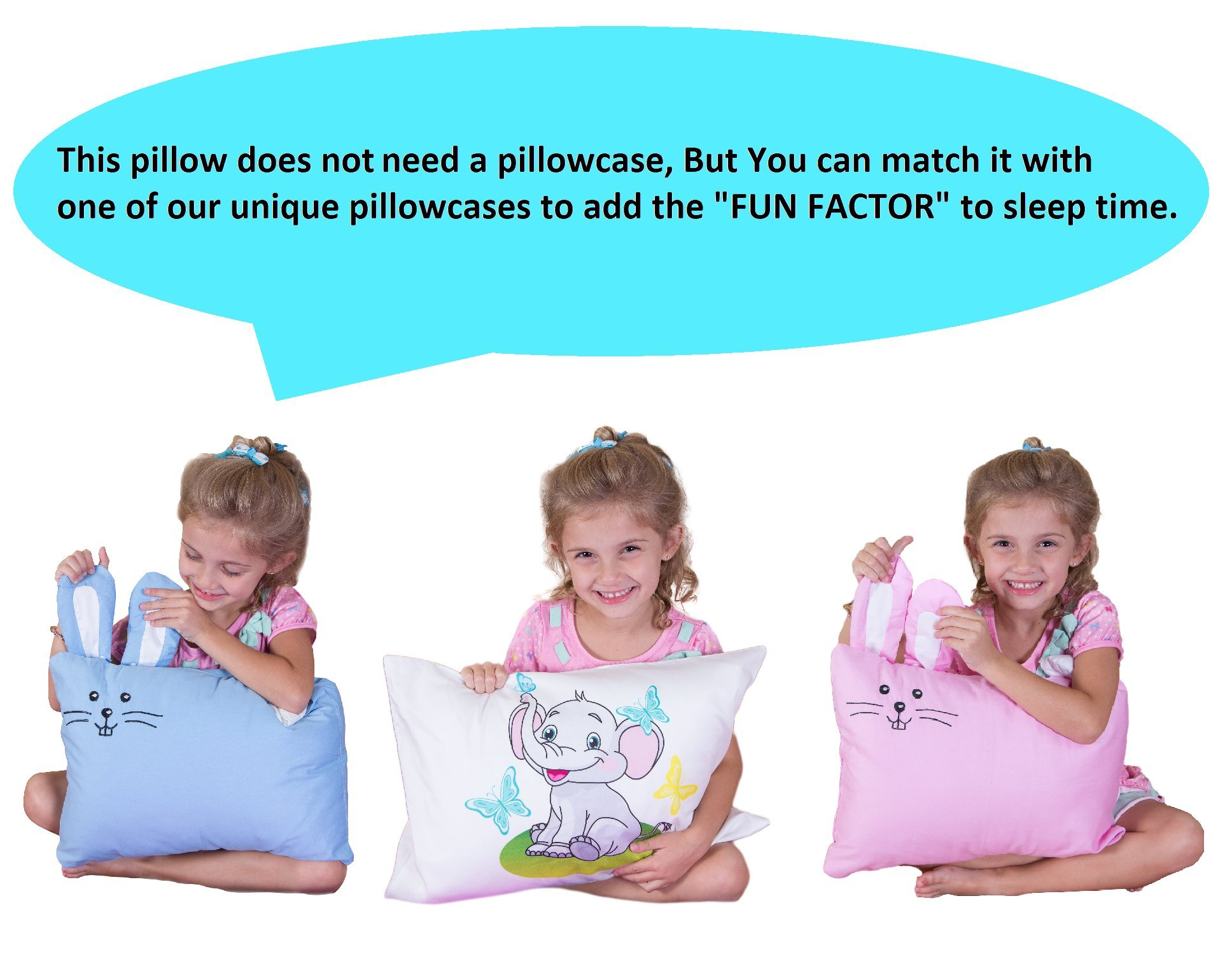 kinder Fluff Toddler/Travel Pillow -No extra Pillowcase/Sham needed-The only Pillow with 300T Cotton and Cluster fiber fill- Hypoallergenic and Machine washable by kinder Fluff (Image #5)