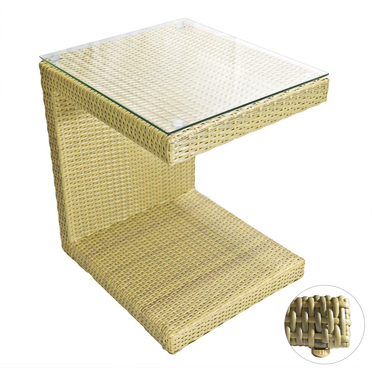 All Weather Outdoor Wicker Lounge Chair Side Table in Honey Almond with a Tempered Glass Top. 16 Wide x 18 Deep x 22 Tall