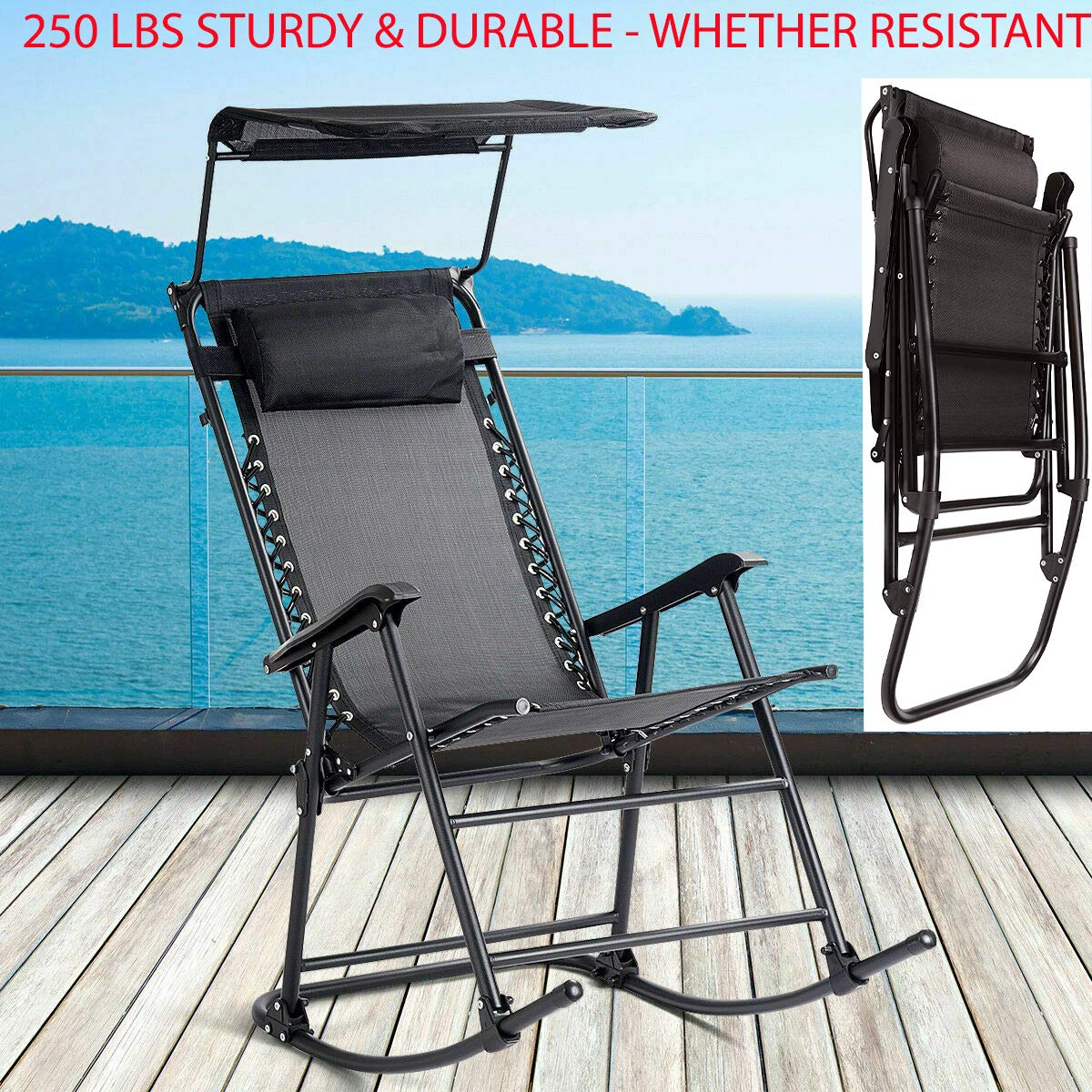 250 Lbs Sturdy & Durable Folding Rocking Chair Rocker Porch Zero Gravity Furniture with A Soft Pillow and Sunshade Canopy Perfect for Outdoor Indoor in Your Home Use Black by Sunnady