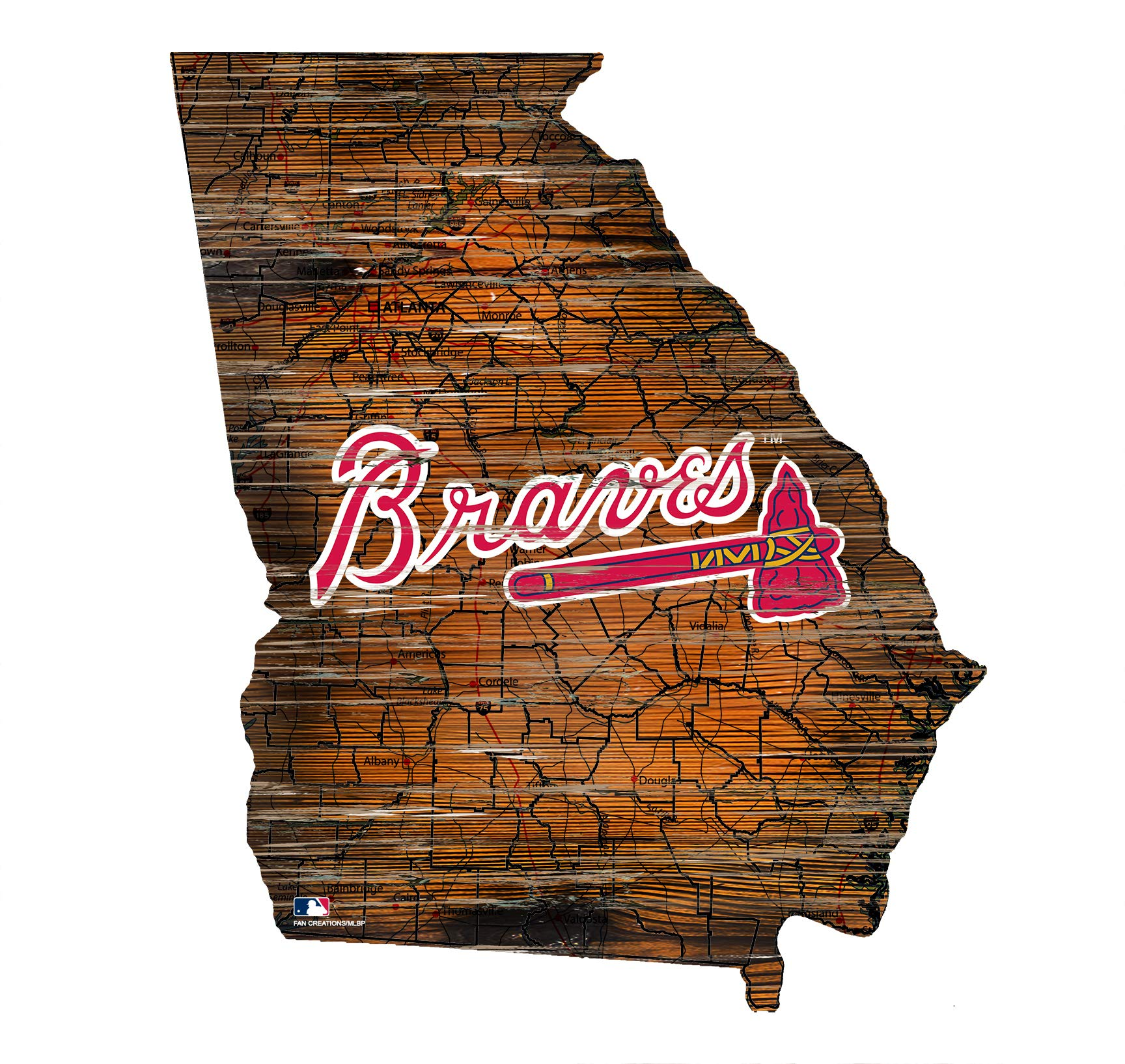 Fan Creations Atlanta Braves 12'' Mini Roadmap State Sign by Fan Creations