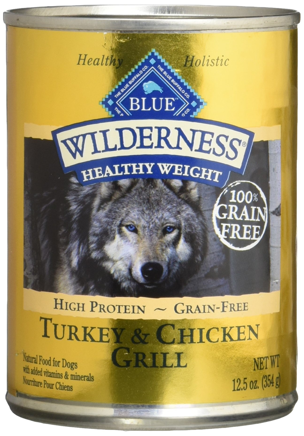 Blue Buffalo Wilderness High Protein Grain Free, Natural Adult Wet Dog Food Healthy Weight Turkey & Chicken Grill