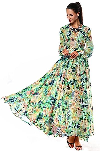 ACEVOG Vestido - Casual - Manga Larga - para Mujer Green1 XX-Large