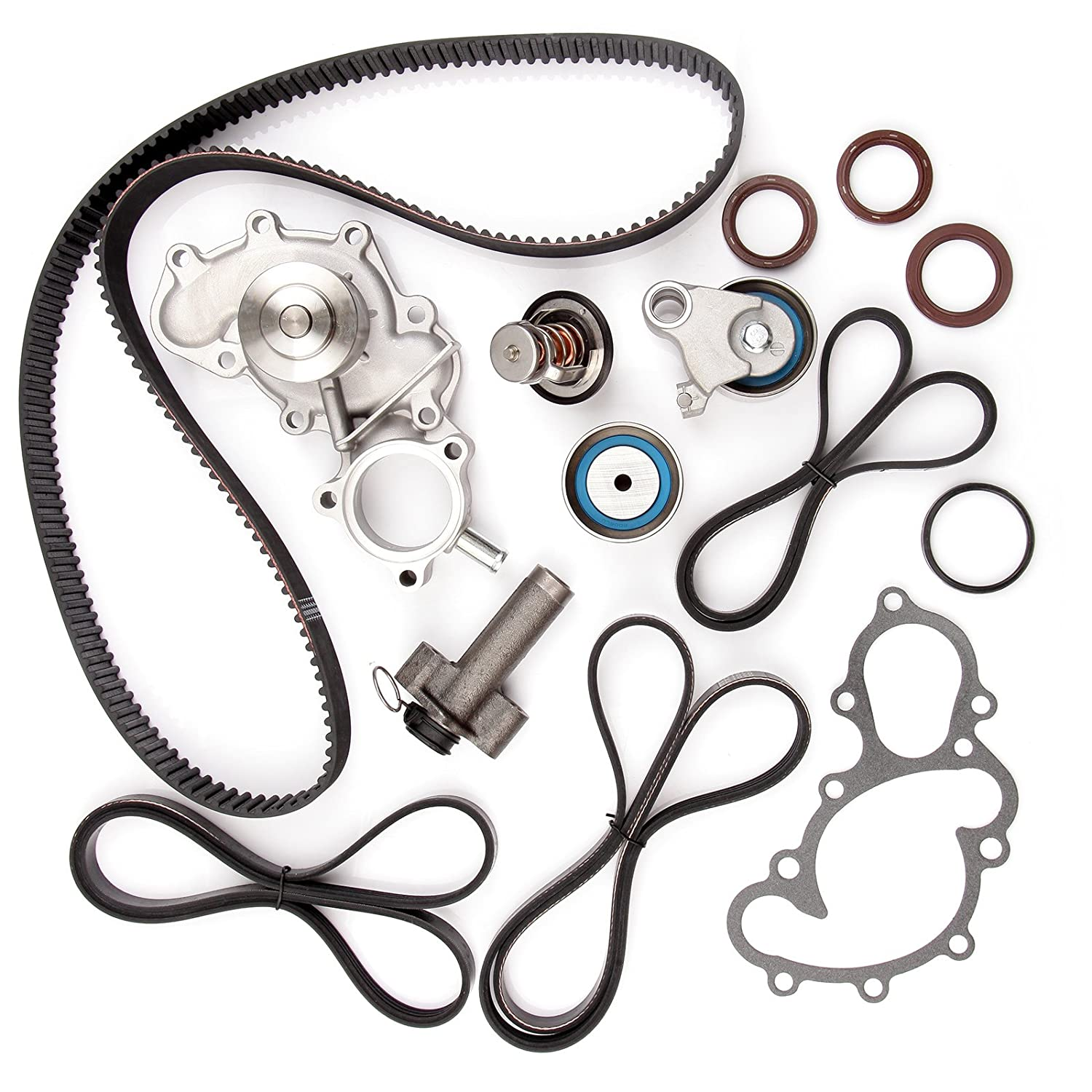 amazon timing belt water pump kit eccpp for 1995 2004 toyota  amazon timing belt water pump kit eccpp for 1995 2004 toyota ta a tundra 4runner t100 3 4l v6 dohc 24 valve engine 5vzfe automotive