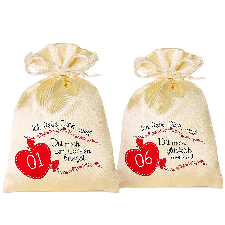 24 Adventskalender Säckchen Säckchen Säckchen aus Satin (10x15 cm) m. 24 Gründen Ich Liebe Dich, Weil, (für Erwachsene Männer & Frauen) m. Adventsbox Love f. Weihnachtskalender Adventskalender zum Befüllen B075FBGHG8 Adventskalender d2b4a3
