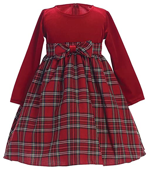 iGirldress Little Girls Red Black Velvet Plaid Holiday Fall Christmas Girls  Dress 3Mos,12