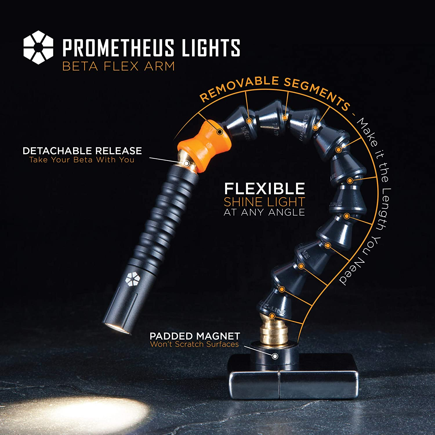Prometheus Lights Beta Flex Arm Magnetic Mount Flex Arm with Beta Brass Flashlight