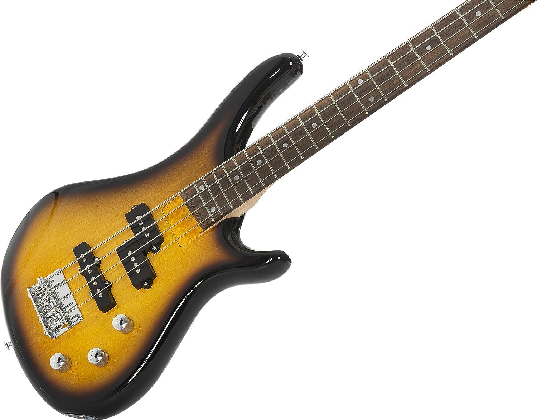 Stretton Payne - Guitarra eléctrica S1-Bass (cuello de arce, diapasón de madera de oscuro) Paquete completo con amplificador de práctica y accesorios.
