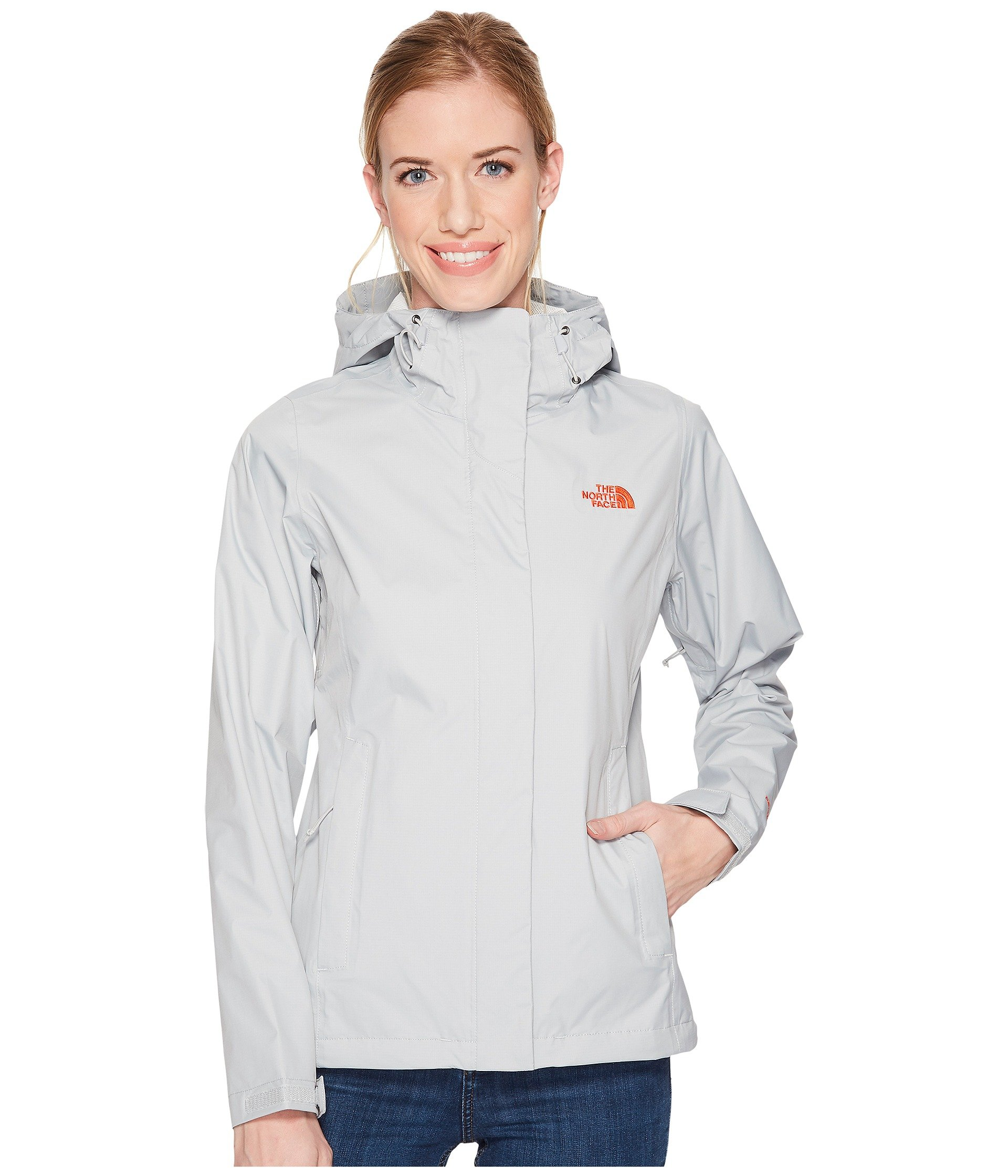 The North Face Venture 2 Jacket - Women's High Rise Grey/Fire Brick Red 3X-Large