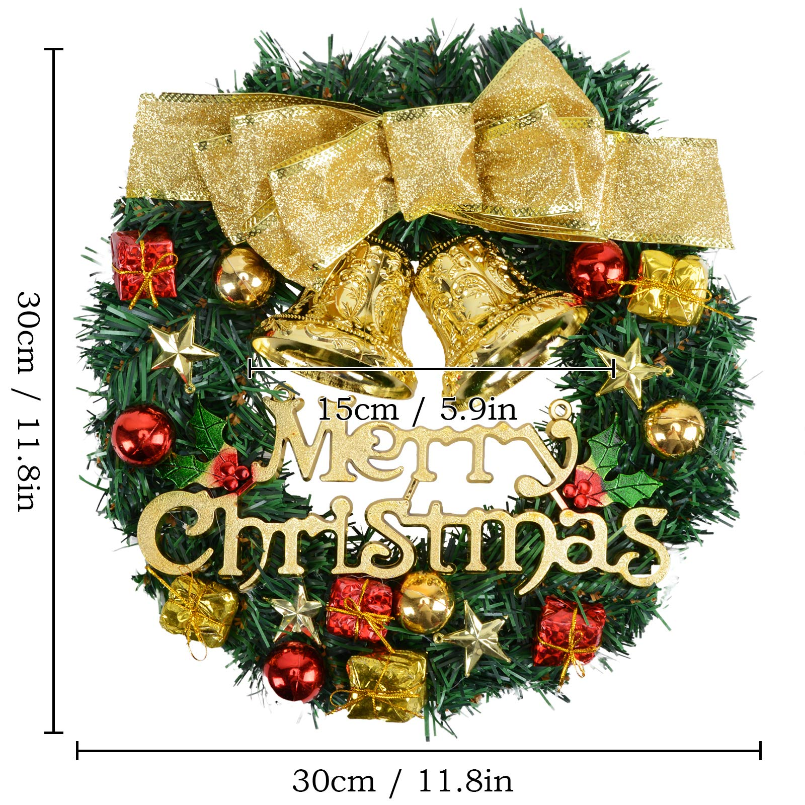 Voilamart Christmas Wreath 30CM/12Inch Artificial Garland with Bells Baubles and Golden Bowknot Xmas Decorations for Fireplaces Stairs Wall Door