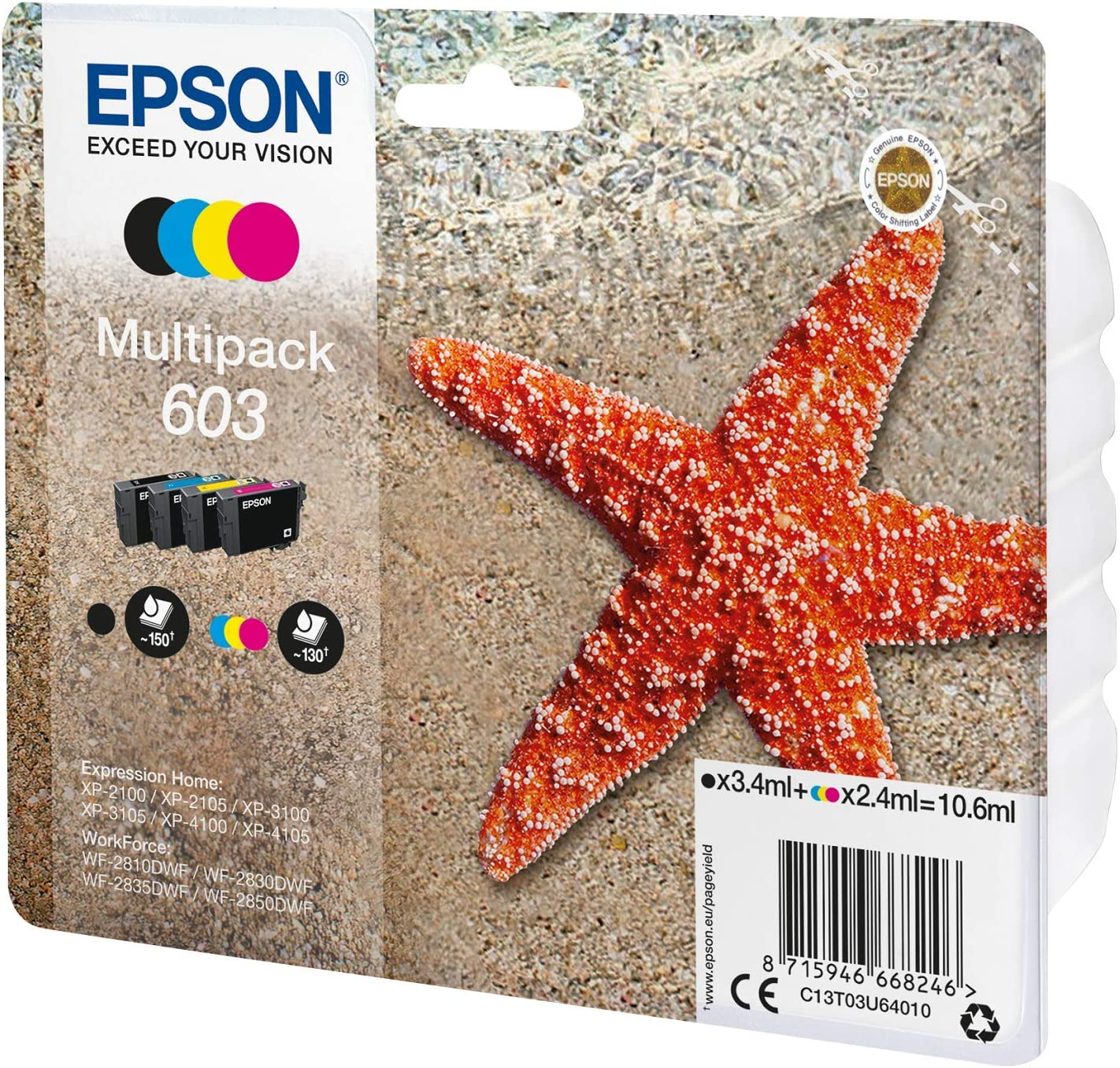 CARTUCCIA ORIGINALE EPSON C13T03U64010 603 MULTIPACK BK-C-M-Y #0996