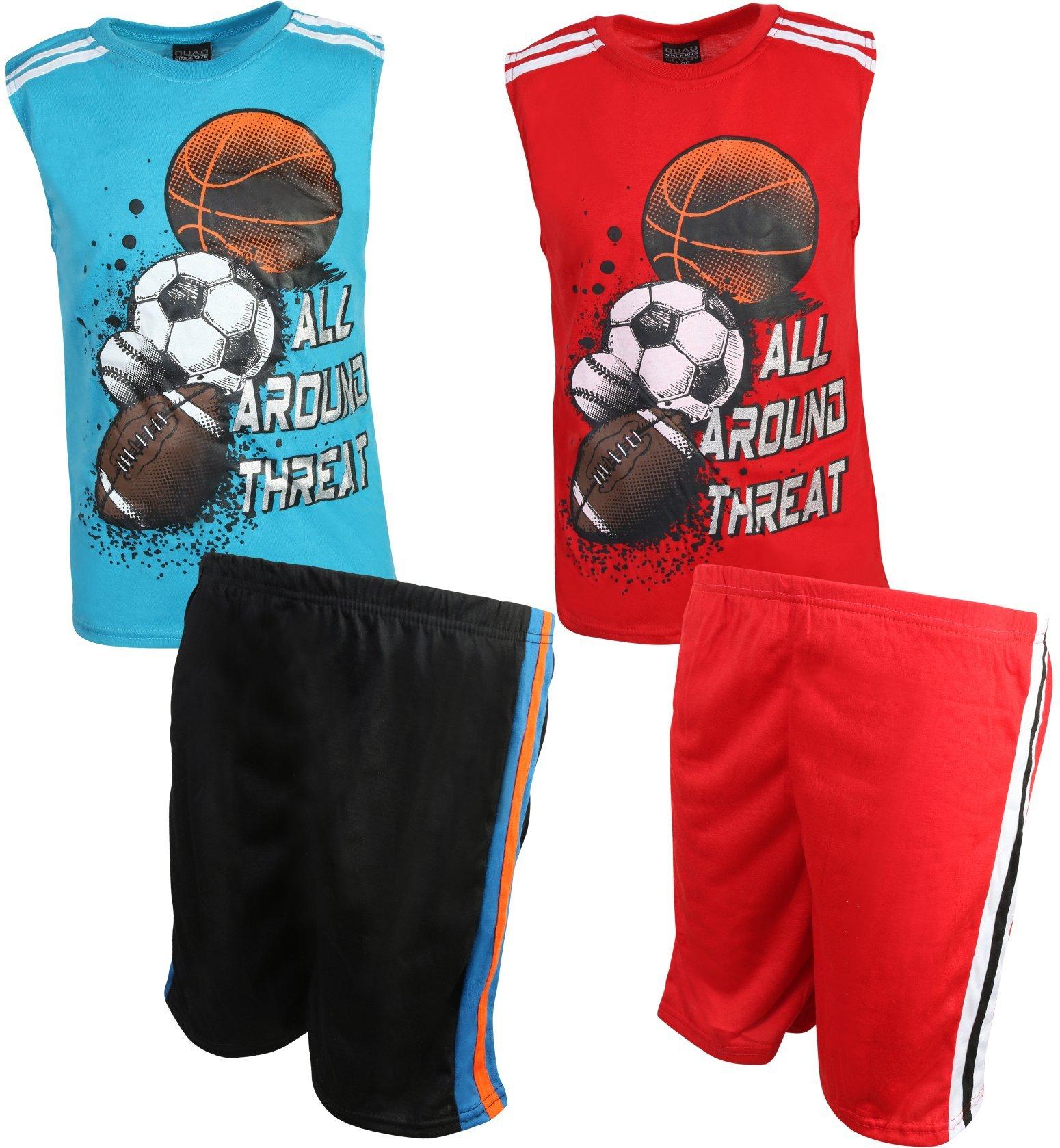 Quad Seven Boy's 4-Piece Pajama Short Set, All Around Threat, Size 16/18'