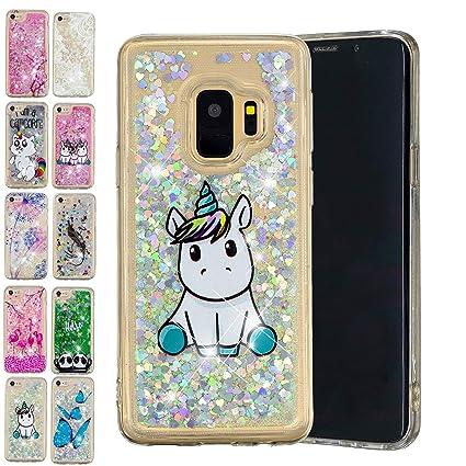 cc8d7547f5c E-Mandala Funda Samsung Galaxy S9 Plus Liquido Glitter Brillante Bling  Unicornio Carcasa Transparente con
